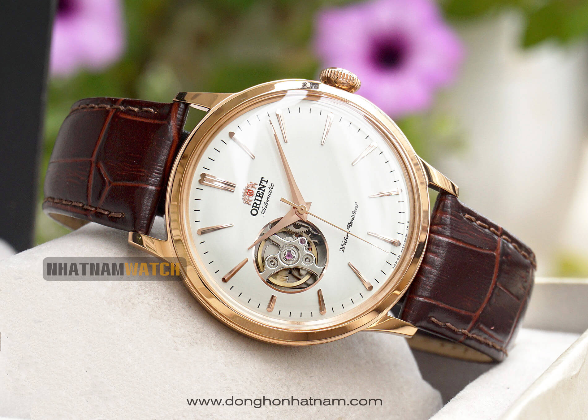 Orient Bambino Open Heart Rose Gold Leather – RA-AG0001S10B