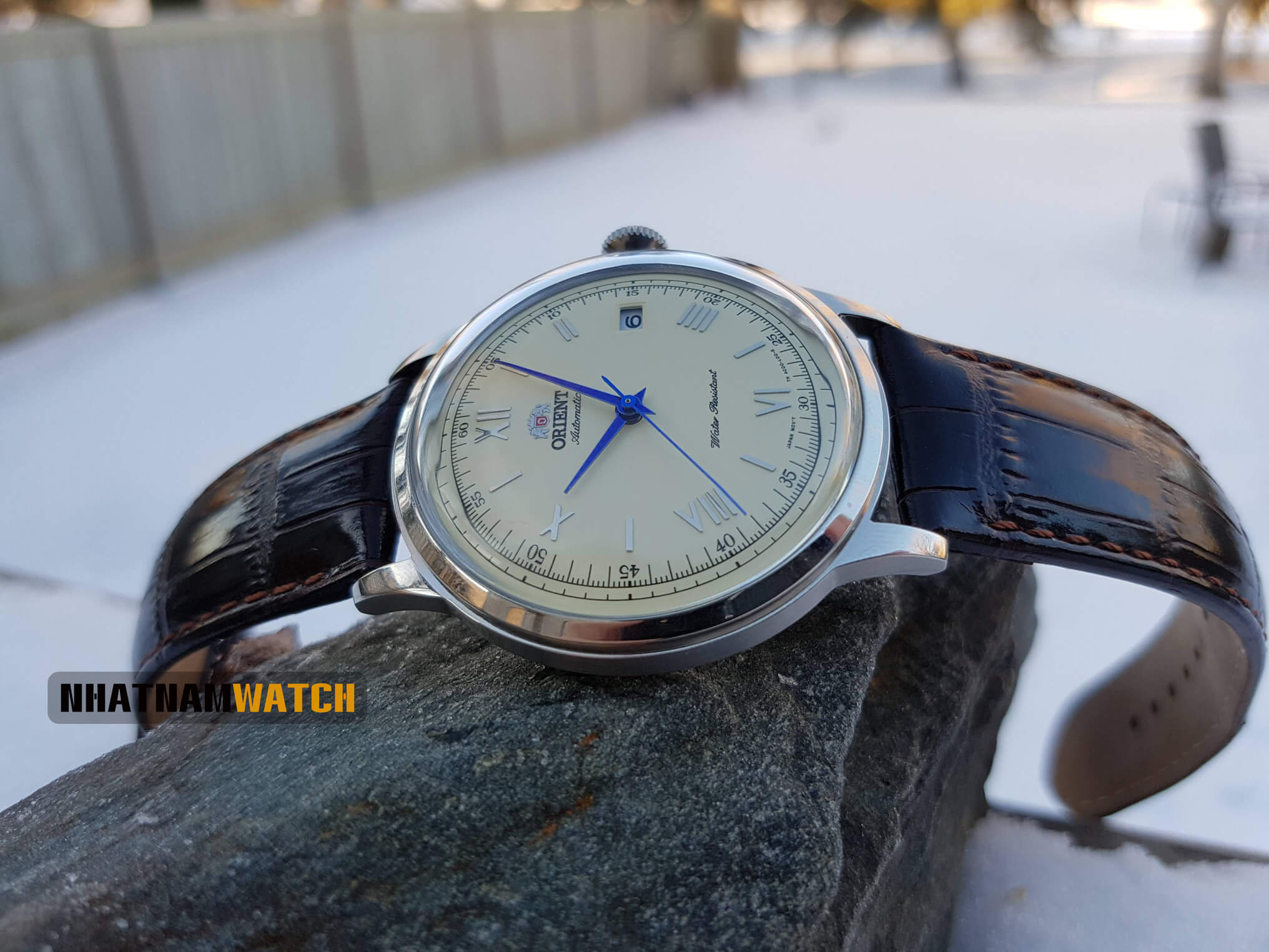 Đồng hồ Orient AC00009W Bambino Gen 2 kim xanh
