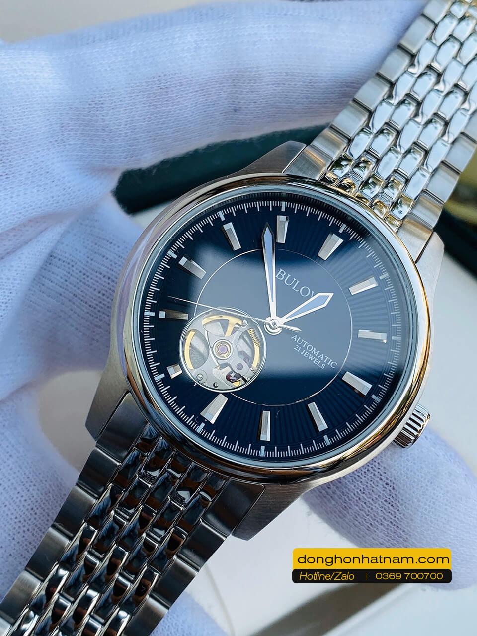 Bulova open heart 96A189 Automatic Blue Dial Steel